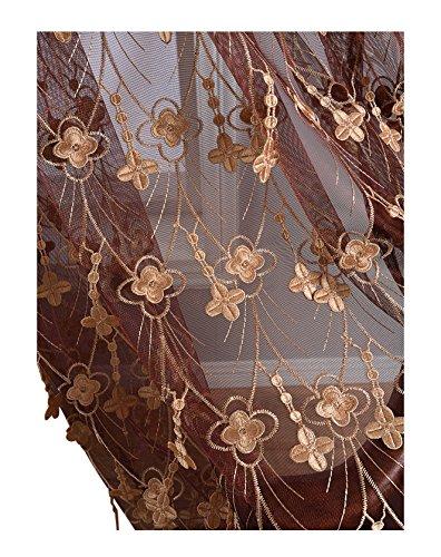 Eleganter Landhausstil Blumenmuster Vorhang Gardinenstange für Wohnzimmer, Schlafzimmer und Kinderzimmer (1 Panel, B 127 x L 213,4 cm), Beige, Polyester-Mischgewebe, Rot1, 50W x 95L Inch, 1 Panel