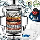 Filtre à eau de douche 15 étapes pour enlever le plomb de fluorure de chlore - 2 cartouches pour les filtres de pommeau de douche - Douche filtrée adoucisseur pour eau dure - Chromé, argent, SF-15ST