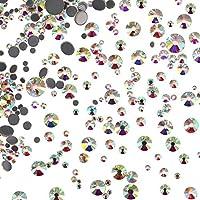 1000 Piezas de Cristales Redondos de Fijación Caliente de Tamaños Mezclados Gemas Piedras de Vidrio Diamantes de Espalda Plana 1,5 - 6 MM (Color de Cristal AB)