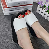 fankou Summer Women Shoes Thick Women Fashion High-Heeled Slippers Summer Cool and Things to Wear with Cold on The Slopes of,37, White Slippers.