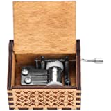 Wal front Caja de Música de Manivela de Madera, Caja de Música, Caja de Música de Madera, Grabada a Mano Vintage Regalo de Cu