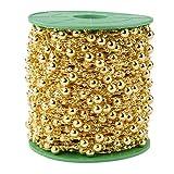 200 pies 60 M 8 + 3 mm línea de pesca Artificial perla moldeada ajuste para DIY flor, regalo de Navidad y banda de pelo, perla Garland para ramo de novia, Decoración de la boda (Oro)
