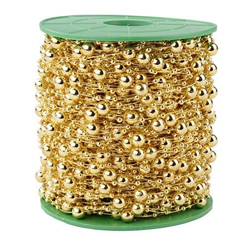 Xihui 200 Fuß 60M 8 + 3mm Angelschnur Künstliche Perle Perlenbesatz für DIY Blume, Haarband, Perlengirlande für Brautstrauß, Hochzeitsdekoration (Gold)