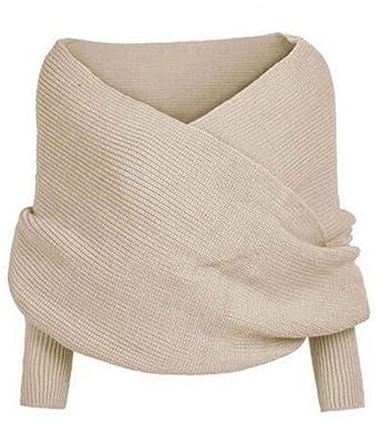 b87d035a51cd Ghope Femme pull en tricoté écharpe coréenne automne hiver tricoté Cape  manteaux  Amazon.fr  Vêtements et accessoires