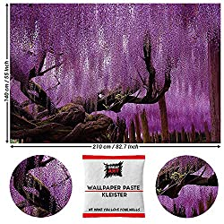 GREAT ART Fototapete Wisteria Glyzinien 210 x 140 cm - Wanddekoration Blumen Wandbild Lila Poster Kunst Dekoration Wald Natur Landschaft - 5 Teile Tapete inklusive Kleister