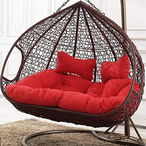 Double Rattan Hängesessel Swing Sitzkissen Dick Swing Chair Stuhlkissen Balkon Bird's Nest Stuhlkissen Hof Garten Sessel Sitzkissen-Rot Doppelt