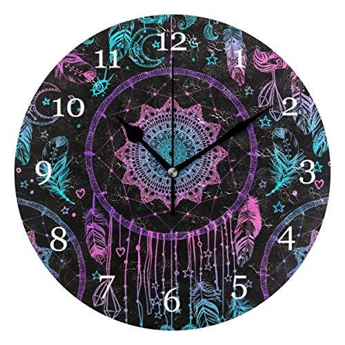 Vinlin Reloj de Pared, Estilo Indio, con atrapasueños, para Oficina, Cocina, Dormitorio, salón, Cultura del hogar