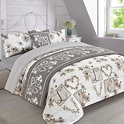 Dreamscene Complete Bedding Set Duvet Cover with Pillowcase Runner Sheet Millie Taupe - King - inexpensive UK light shop.