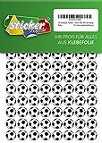 252 Aufkleber, Fußball, Sticker, 15 mm, weiß/schwarz, aus PVC, Folie, bedruckt, selbstklebend, EM, WM, Bundesliga