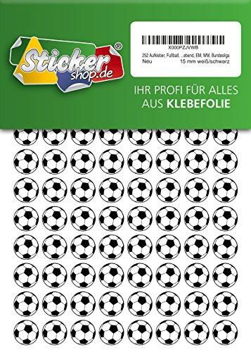 252 Aufkleber, Fußball, Sticker, 15 mm, weiß/schwarz, aus PVC, Folie, bedruckt, selbstklebend, EM, WM, Bundesliga (Fußball-wm-sticker)