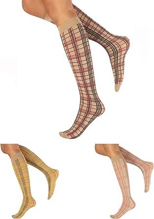 CALZITALY Tre Paia di Gambaletti Donna a Quadri Colorati Stile Tartan Scozzese   Beige   Made in Italy