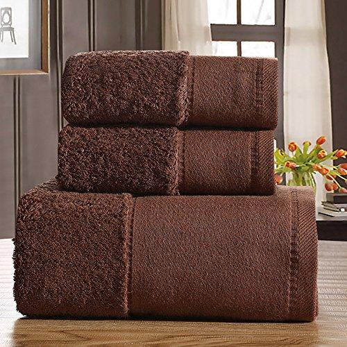 DANCICI Baumwolle Grün Handtuch saugfähiges Handtuch nach Schal set Handtuch drei Stücke hotel, Weiß Kaffee Farbe