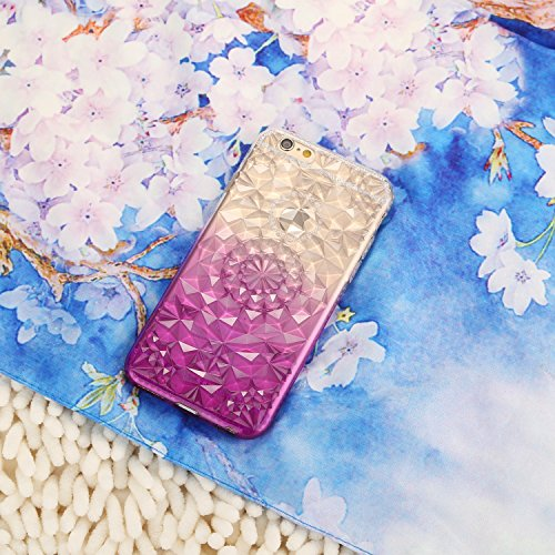 Case for iPhone 6P Translucent Cover Gradient Flexible Soft TPU Anti-Scratch 3D Diamond Durable Protective Shell Bumper Case for Apple iPhone 6 Plus - Yellow Purple