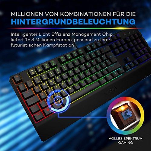 Mechanische Tastatur VAVA Gaming Tastatur 16.8 Millionen RGB Farben, Blaue Switsches, 100% Anti-Ghosting, 104 Tasten Robuste UV-Beschichtung, Ergonomisches Design, Deutsches Layout QWERTZ - 2