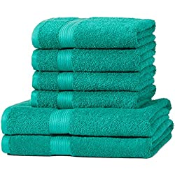 AmazonBasics - Juego de toallas (colores resistentes, 2 toallas de baño y 4 toallas de manos), color verde
