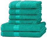AmazonBasics - Juego de toallas (colores resistentes, 2 toallas de baño y 4 toallas de manos),...
