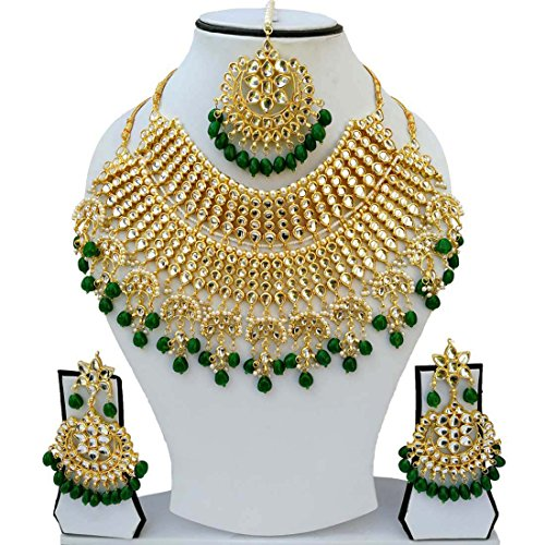 Finekraft Most Admirable Meena Kundan Marvelous Pearls Designer Gold Plated Necklace Jewelry...