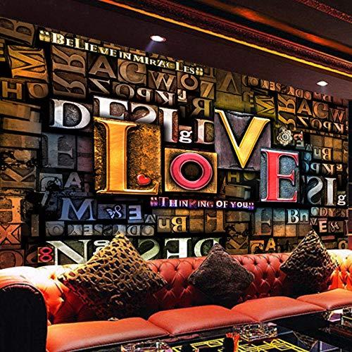 Lllyzz Benutzerdefinierte Fototapeten 3D Stereoscopic Geprägte Mode Englisch Buchstaben Liebe Restaurant Cafe Hintergrund Wandbild Dekor-400X280Cm