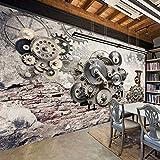 LONGYUCHEN Benutzerdefinierte 3D Kunst Wandbild Retro Nostalgie Mechanische Getriebe Wohnzimmer Sofa Hintergrund Wand Dekor Cafe Bar Themenhotel Restaurant,200Cm(H)×300Cm(W)
