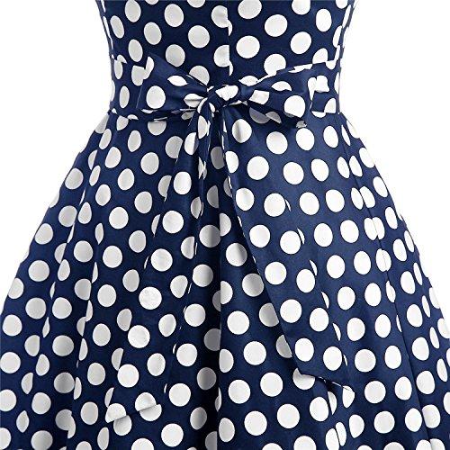 Dressystar Einfarbiges Kleid Vintage V-Ausschnitt Kurzarm Damen Kleider mit Gürtel Swing Marineblau Weiß Dot B