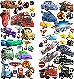 Neues Design 2018 Cars 3D Cartoon Wandaufkleber für Schlafzimmer Jungen und Mädchen Wandbild Aufkleber Größe: Groß 76 cm X 72 cm
