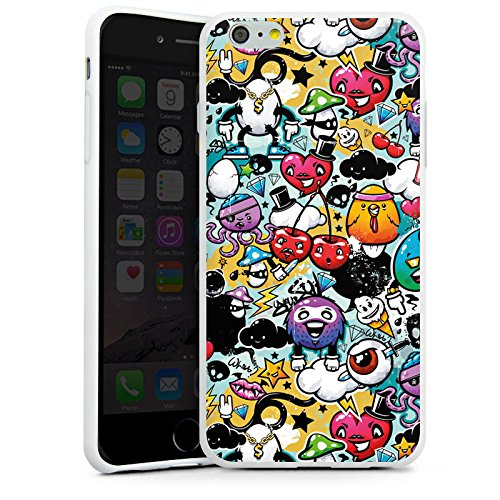 Apple iPhone X Silikon Hülle Case Schutzhülle Graffiti Bunt Sticker Style Monster Silikon Case weiß