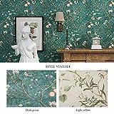 KINLO 0.53*10M Retro Vliestapete Wandtapete mit Apfelbaum Mustertapete Euro-Stil Wand Tapete als Schlafzimmer, Wohnzimmer TV Hintergrund Fernsehhintergrund, Sofahintergrund, Hotel Dekoration(Blau)