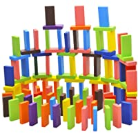 Toyshine 100 pcs 12 Color Wooden Dominos Blocks Set, Kids Game Educational Play Toy, Domino Racing Toy Game