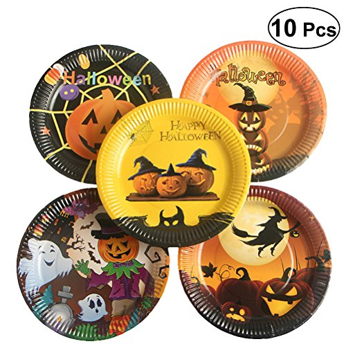 BESTOYARD Halloween Einweg Pappteller Dekorative Lebensmittel Teller für Halloween Party Festival liefert (zufällige Muster) 10 Stk