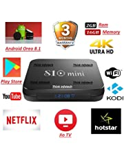 Think Infotech™ S10 Mini Android 8.1 Mini Pc 2GB Ram 16GB ROM Amlogic S905W 4K Android TV Box