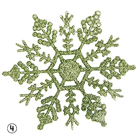 Urninau 12pcs Décorations de Noël Paillettes Flocon de neige Festival Sapin de Noël à suspendre Décor cadeaux