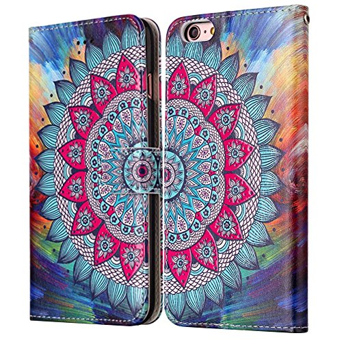 "MOONCASE iPhone 6 Plus/iPhone 6s Plus Coque, [Colorful Relief Pattern] Anti-choc Full-body Protection Housse avec Card Holder en Cuir Etui Case pour iPhone 6s Plus 5.5"" Bear Flower"