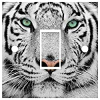 Red Parrot Graphics Snow Tiger Light Switch Cover Wrap Skin UK Single Switch Sticker Vinyl Decal