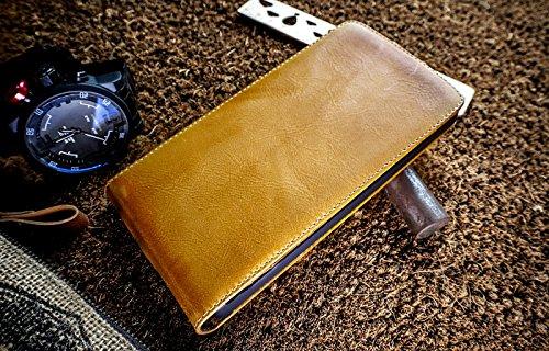 Urcover® custodia portafoglio lg g4 | protettiva akira fatta a mano | wallet case flip cover in vera pelle marrone | cuoio artigianale elegante business premium
