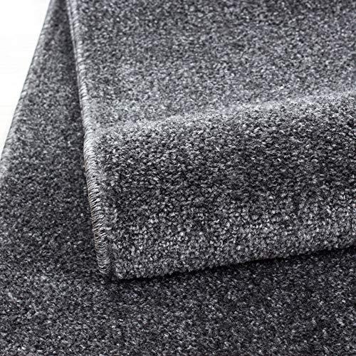 HomebyHome Einfarbig Moderner Kurzflor Guenstige Teppich Uni Grau meliert Wohnzimmer, Schlafzimmer, Diele, Küche, Größe:140x200 cm