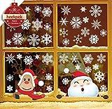 heekpek Pegatina de de Copo de Nieve Ventana de Navidad Linda Alce Papá Noel Adhesivo de...