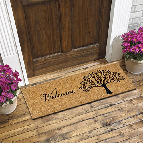 ATMAH Tree Welcome Coir Door mat - Size 120cm x 40cm