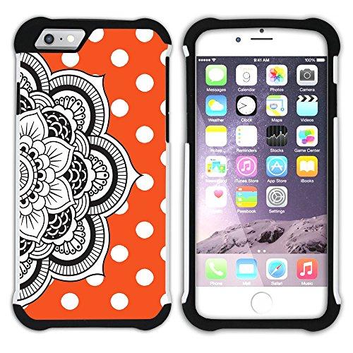 Graphic4You Mandala Blume Punktmuster Tupfen Muster (Gelb) Hart + Weiche Kratzfeste Hülle Case Schale Tasche Schutzhülle für Apple iPhone 6 Plus / 6S Plus Orange