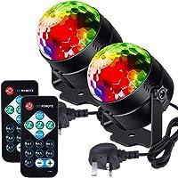 Litake Disco-Lichter, Discokugel-Fernbedienung, DJ-Lichter, 3 W, 7 Farben, Stroboskoplicht, Sound-aktiviert, Party…