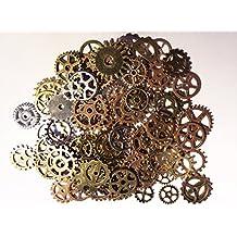 100x Steampunk Zahnräder Bunt Gothic Charms Bronze aus Metall