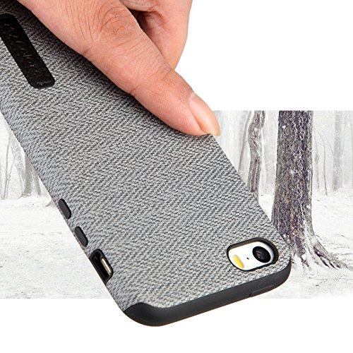 """MOONCASE iPhone 5/iPhone 5s/iPhone SE Hülle, Weich TPU Kratzfest Stoßfest Schutztasche [Fabric Pattern] Schroff Rüstung Handysocken Case für iPhone 5s/iPhone SE 4.0"""" Blue-1 Dark Grey"""