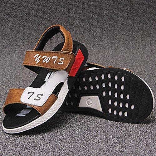 Oasap Boy's Fashion Peep Toe Velcro Flat Sandals Grey