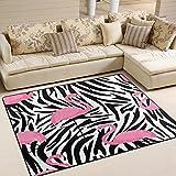 Use7 Teppich, Motiv: Flamingo, Zebramuster, Pink, Textil, Mehrfarbig, 160cm x 122cm(5.3 x 4 feet)