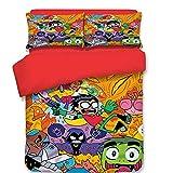 CXDM 3 Stück Bettbezug-Set 3D-Druck Dragon Ball Goku & Simpsons Muster Bettwäsche(1 Bettbezug, 2 Kopfkissenbezüge),A,UKDouble