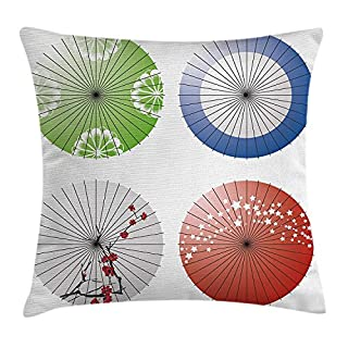 ZHIZIQIU Apartment Decor Throw Pillow Cushion Cover, Artisan Japanese Umbrella Design with Cherry Blossom Flowers and Star Figures, Decorative Square Accent Pillow Case, 18 X18 Inches, Multi