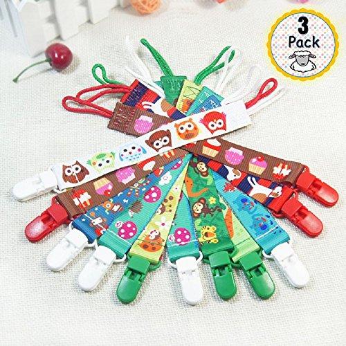 Preisvergleich Produktbild 3 Pack Schnullerband / Schnullerkette  BPA FREI  mit Namensfeld für Jungen und Mädchen - universal Schnuller Clip für alle Schnuller mit und Ohne Ring