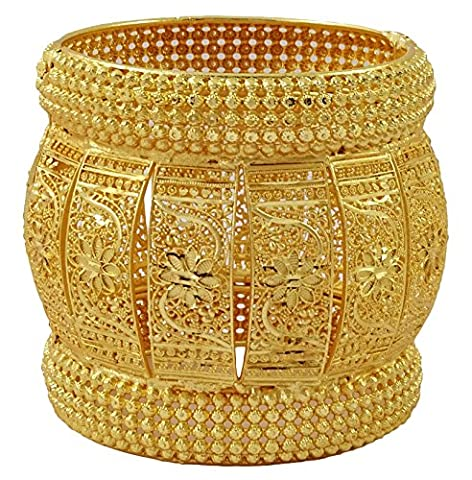 Matra 18K Indian Women Designer plaqués or Hinged Bangle Kada Bracelet 2 * 8bijoux