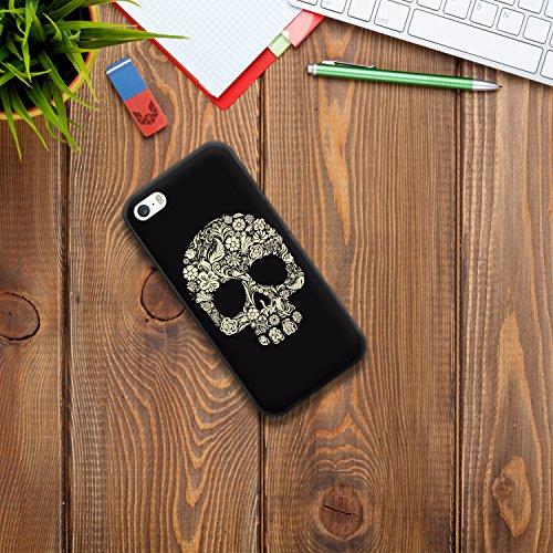 iPhone SE iPhone 5 5S Hülle, WoowCase Handyhülle Silikon für [ iPhone SE iPhone 5 5S ] Schädel und Rosen Handytasche Handy Cover Case Schutzhülle Flexible TPU - Transparent Housse Gel iPhone SE iPhone 5 5S Schwarze D0181