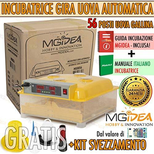 Mgidea incubatrice automatica 56 uova incubazione + kit svezzamento pulcini - per gallina, tacchina, faraona, anatra con girauova automatico, termostato, igrometro, display esterni con allarme sonoro