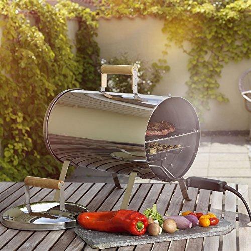 Tischräucherofen Smoker Grill zum Heißräuchern Kompakter Räucher-Ofen mit Grill-Rost 41,5 x 24 cm elektrisch Räuchergrill